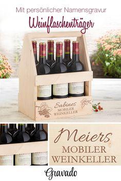 Weinflaschenträger mit persönlicher Gravur des Wunschnamen. Geschenk für Foodies und Genießer. Das etwas andere Weinregal als ausgefallene Geschenkidee. Jeder liebt doch ein Gläschen Wein!