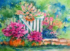 Watercolor of Garden Flowers and White Picket Fence - Martha Kisling Original Art