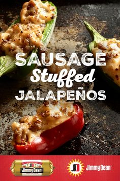 Jimmy Dean fresh sausage with signature seasoning, cream cheese and shredded cheddar will have each bite of this recipe bursting with flavor. Pro tip: Bake the poppers on the indented top of a broiler pan to help them hold upright and keep all that delici Low Carb Recipes, Diet Recipes, Cooking Recipes, Healthy Recipes, Recipies, Vegan Appetizers, Appetizer Recipes, Sausage Stuffed Jalapenos, Fresco