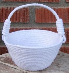 Flower Girl White Basket, Spring Decor, Country Cottage Chic, Wedding Rag Rope Wrapped Decoration, Fabric Coiled Bowl, Cloth Handle Storage