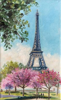 Eiffel towers and cherry trees, inches) is an original oil painting by Edwige Mitterrand Delahaye. The painting represents a view of the Eiffel Towers in Paris France during spring with cherry blossom trees. Paris Painting, City Painting, Spring Painting, Oil Painting Abstract, Eiffel Tower Painting, Eiffel Tower Drawing, Eiffel Tower Art, Art Parisien, Paris Canvas