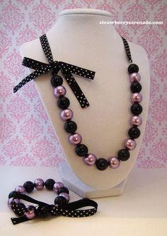 Purple & Black Pearl Lolita Bow Ribbon by strawberryserenade, $24.00