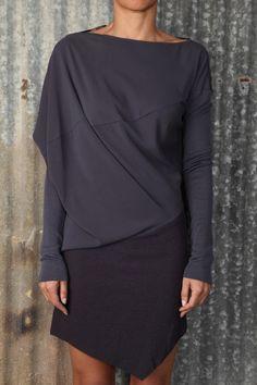 Alessandra Marchi, purple draped top & black skirt