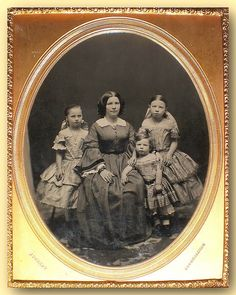 1/2 plate ambrotype image from Gurney NY, 1857, of a mother her two daughters and her young son
