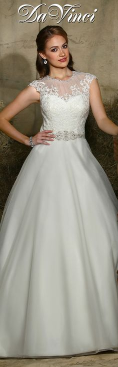 DaVinci Bridal Style # 50326 Tulle ball gown features a lace bodice and satin trim at the natural waistline which is accented with intricate beading.  Rouched jewel neckline is trimmed with beading.  Lace appliques accent the cap sleeves that extend to a high sheer back with button closures.  Semi-cathedral train. http://www.davincibridal.com/