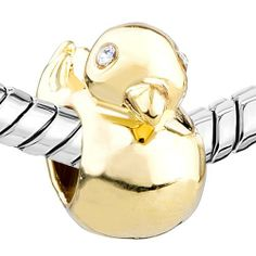 DAZZLE DUCK: Pugster Golden Duck Animal Bead Fits Pandora Charm Bracelet: Pugster: Jewelry