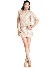 Jessica Simpson Dress, Short Sleeve One Shoulder Sequin Blouson - Womens Dresses - Macy's