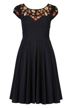 eShakti Women's Fall floral yoke poplin dress S-4 Regular Black multi