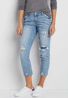 boyfriend capri in light wash with destruction (original price, $39.00) available at #Maurices