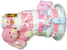 Corduroy Pink Puppy Diaper Cake