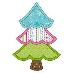 Christmas present applique   Alpine Christmas Tree Applique : Machine Applique Embroidery Designs ...