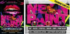 Neon Paint – Premium Flyer Template http://www.exclusiveflyer.com/premium-templates/neon-paint-premium-flyer-template/