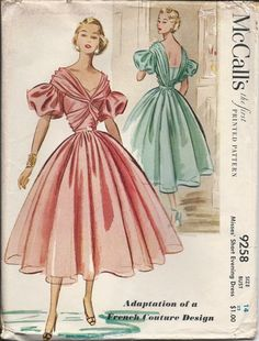 Inspiration from the early 50s ... love love LOVE the neckline, dropped shoulder and draped back