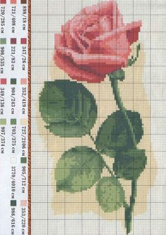Rose cross stitch    This is really pretty. I really want to turn the red/pink rose into a black/grey rose. It would be beautiful!