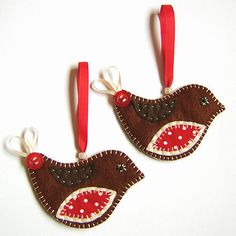 Reserved :Christmas Robin Decorations ... set of 2