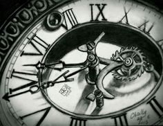 My charcoal drawing of an old clock. Follow me at: www.facebook.com/sallyhelmyartwork