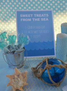 Under the Sea Birthday Party ideas. You'll love all the pretty details of this under the sea ocean birthday party! Food ideas, decorations, treats & more. Under The Sea Theme, Under The Sea Party, Garden Birthday, Food Themes, Food Ideas, Ocean Themes, Sea And Ocean, Mermaid Birthday, Birthday Parties
