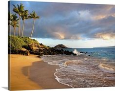 Hawaii, Maui, Makena, Secret Beach At Sunset tropical canvas print via @greatbigcanvas available at GreatBIGCanvas.com.