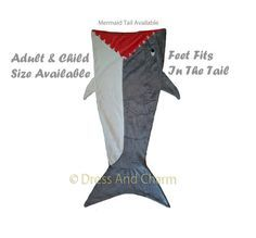 Shark Blanket, Shark Sleeping Bag, Shark Tail Blanket, Great White shark…