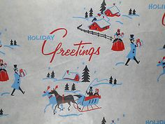 """Antique Vtg 1940 Christmas Gift Wrap Paper Primitive Country Barn/Sleigh 9'x36"""""""