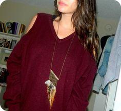 DIY Shoulderless Sweater: DIY Clothes DIY Refashion DIY Sweater