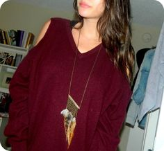 DIY Shoulderless Sweater: DIY Clothes DIY Refashion DIY Sweater