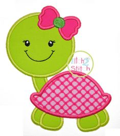 """Turtle Girl 2 Applique Hoop Size and Shown with our """"Covered by Your Grace"""" Font NOT Baby Applique, Machine Embroidery Applique, Applique Quilts, Applique Templates, Applique Patterns, Applique Designs, Owl Templates, Butterfly Template, Butterfly Cards"""