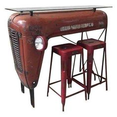 Tractors 383580093248846866 - Red Upcycled Vintage Tractor Bar Dining Set More Source by pigmentsdecors Vintage Upcycling, Upcycled Vintage, Repurposed Furniture, Industrial Furniture, Industrial Design, Tractor Bar, Tractor Seat Bar Stools, Red Tractor, Car Furniture