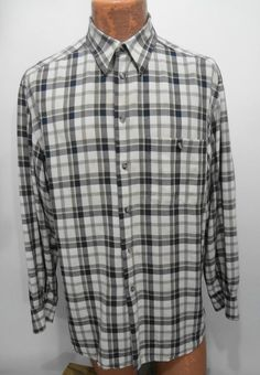 Zanella Mens L Green Gray & Beige Plaid Long-Sleeve Rayon Shirt Made in Italy #Zanella #ButtonFront