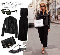 Get the look of super model Natasha Poly, match a maxi dress with a leather jacket and sandals! Go for black on black and finish the look with a pair of classic sunglasses!     Dress from Debenhams // Sunglasses from Ray-ban // Leather jacket from Uniqlo // Bag from Yesstyle // sandals from Tory Burch.