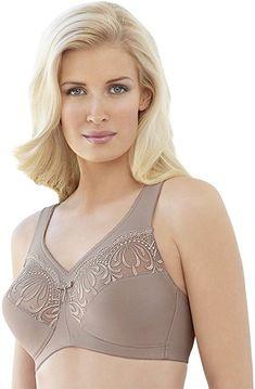 be4d6fefb8 Glamorise Women s Plus-Size Embroidered Magic Lift Bra