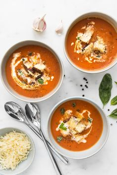 A major upgrade to the classic tomato soup and grilled cheese, our addition of Jarlsberg croutons provides a buttery and nutty flavour as it melts into the tomato soup for a delicious cheesy bread soup. Clean Recipes, Real Food Recipes, Soup Recipes, Cheese Recipes, Easy Recipes, Crowd Recipes, Chili Recipes, Appetizer Recipes, Vegetarian Recipes