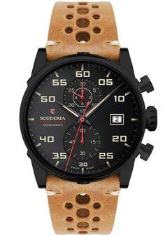 CT Scuderia CS30103 Testa Piatta Chronograph Black Tan is now available at Watches.com