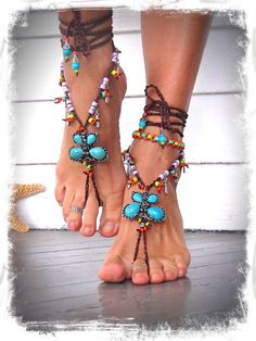 Turquoise BUTTERFLY BAREFOOT SANDALS rainbow colors Toe by GPyoga, $111.00