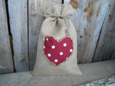 Valentines Day Gift Bag Valentine Day Decor Burlap by Vivicreative