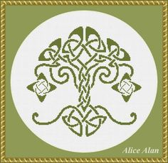 Cross Stitch Pattern Silhouette Tree oak Celtic ornament (druids) monochrome design