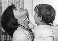 Jacqueline Kennedy with John F. Kennedy Jr. 1962