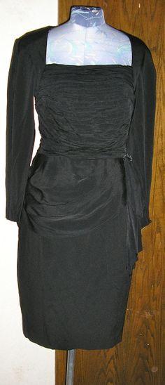 80s black cocktail dress draped peplum open by ChloeandNatalieVtg, $125.00