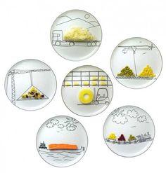 Playing With Food: Transportation Plates by Polish designerBoguslaw Sliwinski