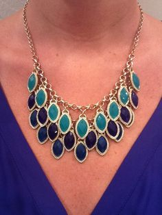 8-133 Navy blue and teal drops necklace