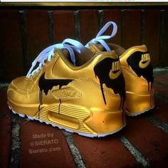 buy for the big price drop on Cheap Mens And Womens Nike Air Max 90 Candy Drip Gold Black Sale, full size selection for mens and womems! Jordan Shoes Girls, Girls Shoes, Cute Sneakers, Shoes Sneakers, Sneakers Sale, Sneakers Fashion, Fashion Shoes, Fashion Outfits, Souliers Nike