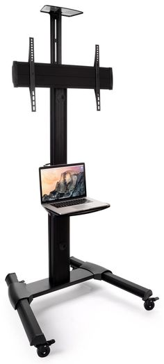 Widescreen Monitor Stand on Wheels - Use Accessory Shelf for Laptop, Projector, Gaming System & More Rolling Tv Stand, Flat Screen Tv Stand, Do It Yourself Organization, Monitor Stand, Cable Box, Mounted Tv, Adjustable Shelving, Aluminium Alloy, Shelves