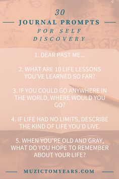 30 Journal Prompts for self discovery an self reflection. I lve journaling. Keeping a diary has many benefits but sometimes you just don't know what to write.