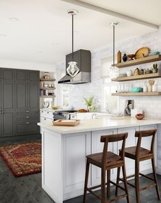 Plan on spending a lot of time in this kitchen. The welcoming vibe is courtesy of the L-shaped counter with plenty of space for bar chairs. Pendant lamps dangle in the shape of arrowheads to entice…More Contemporary Kitchen Backsplash, Modern Kitchen Cabinets, Modern Kitchen Design, Rustic Kitchen, Kitchen Countertops, Kitchen Decor, Dark Cabinets, Red Kitchen, Kitchen Ideas