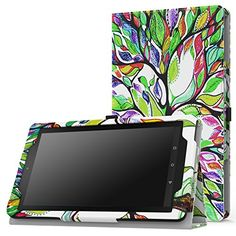MoKo Case for Fire 7 2015  Slim Folding Cover for Amazon Fire Tablet 7 inch Display  5th Generation 2015 Release Only Lucky TREE >>> Click image to review more details.