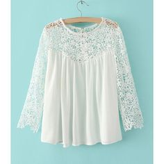 Sweet Style Scoop Collar Lacework Splicing Hollow Out Long Sleeve Women's T-Shirt, WHITE, XL in Tees & T-Shirts   DressLily.com