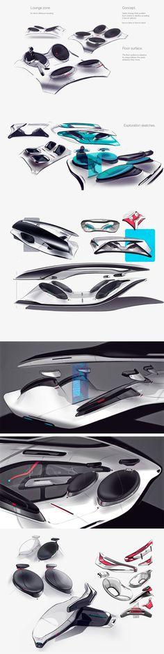 interior project on Behance Car Interior Sketch, Car Interior Design, Interior Design Sketches, Industrial Design Sketch, Automotive Design, Interior Concept, Car Sketch, Cool Sketches, Transportation Design