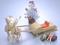 ReindeerとSleigh free printable papercut craft