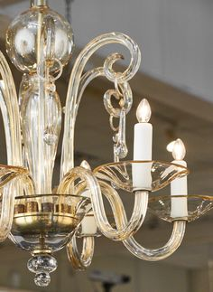 Vintage Italian Murano glass chandelier. Six candelabra sockets rewired for US markets. Height to the top of the glass is 25.875 in.