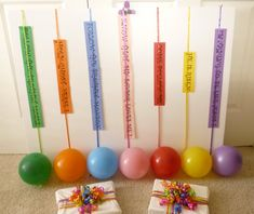 "Balloon Popping meter: as the children sing well, a leader pulls on the ribbon from behind. If the kids have mastered a song, the balloon makes it to the top, where it is popped. Fun idea for review, but potentially irreverent? If all the songs are mastered, the kids get tootsie ""pops."""